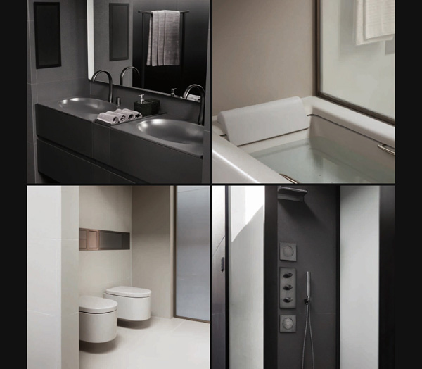 Armani e roca insieme per un bagno minimal e tecnologico pambianco news - Roca piastrelle bagno ...