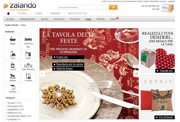 Zalando ora online la sezione casa pambianco news for Zalando arredamento