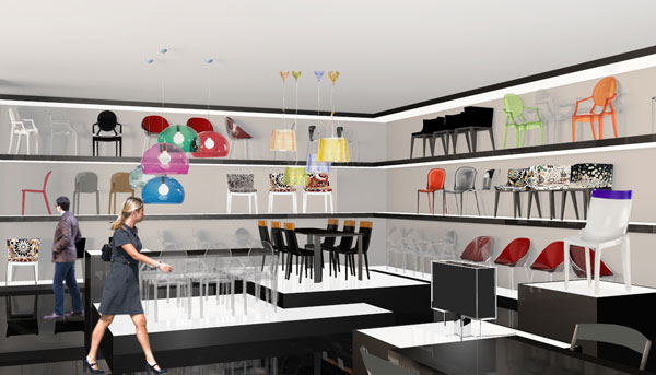 Il rendering del Kartell flaghsip store a Pechino
