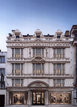 La facciata della Belstaff House a Londra