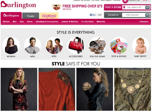 Burlington - homepage sito