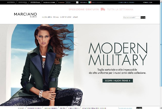 Homepage sito Marciano Guess