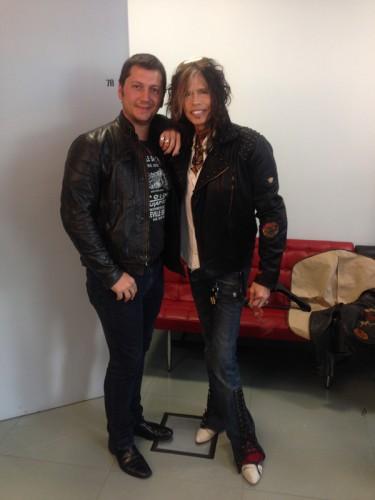 Michele Malenotti con Steven- Tyler all'Eicma 2013