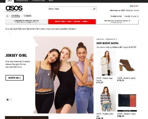 Una schermata del sito Asos
