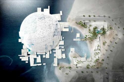Il rendering dall'alto del Louvre di Abu Dhabi