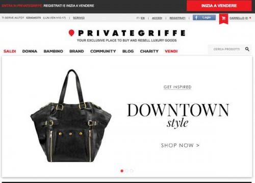 La home page di Private Griffe