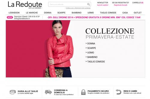 Homepage del sito La Redoute