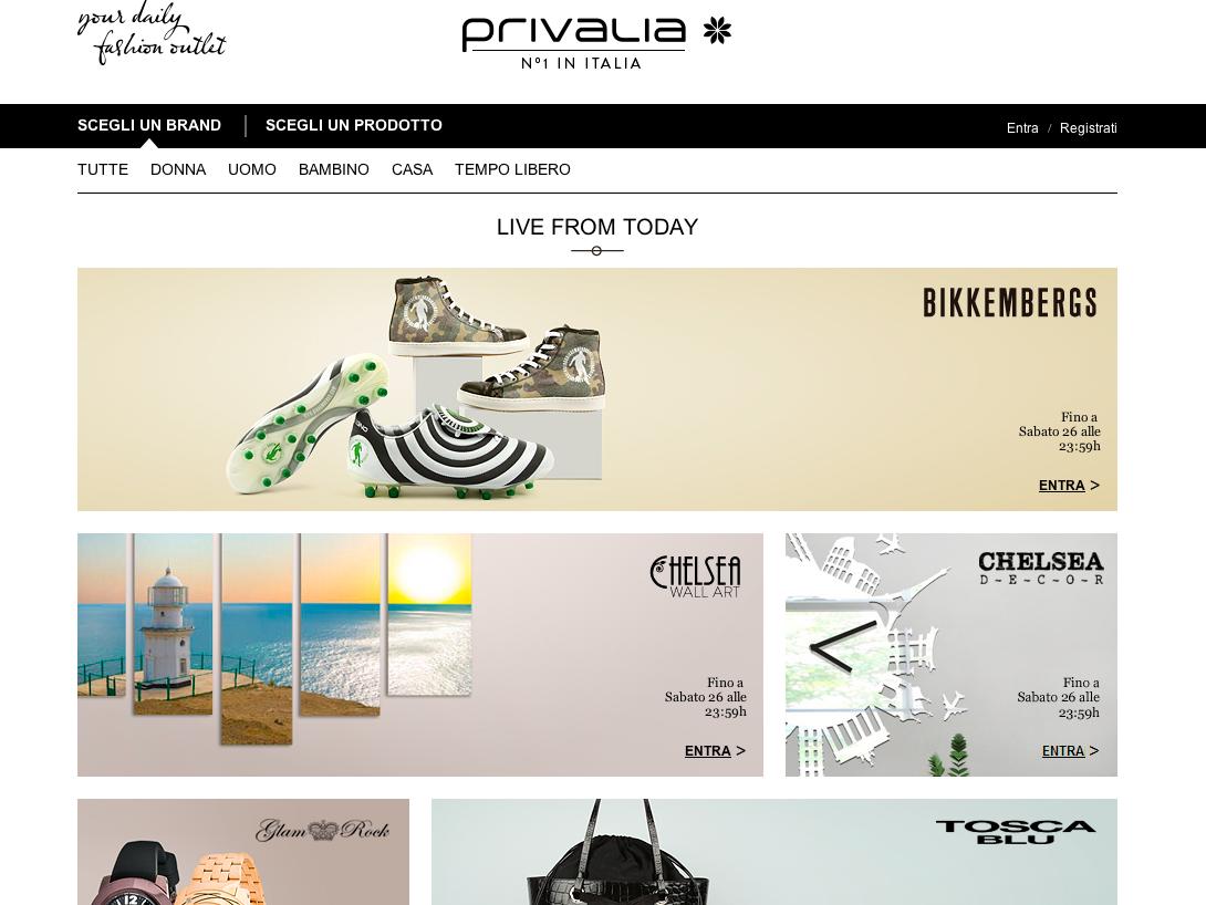 Homepage di Privalia: sito numero uno per lo Shopping Online