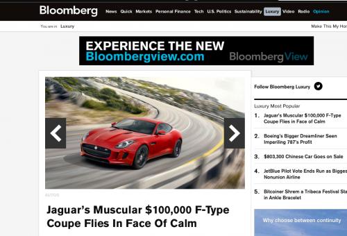 La sezione Luxury di Bloomberg