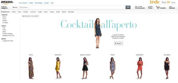 Uno screenshot dalla sezione fashion di Amazon