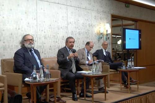 Stefano Ricci, Gaetano Marzotto, Raffaello Napoleone e Agostino Poletto - conferenza stampa Pitti Uomo 86
