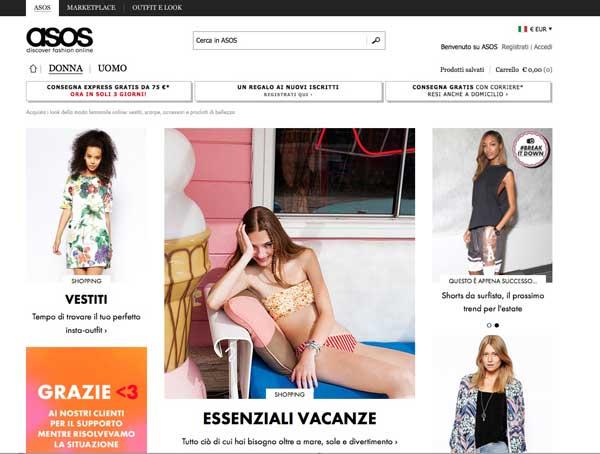 Il sito di Asos