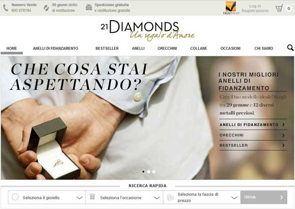 La home page di 21Diamonds