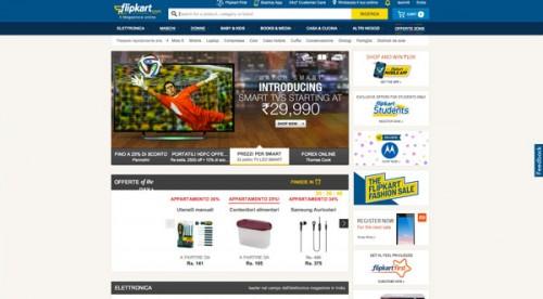 Homepage della internet company indiana Flipkart