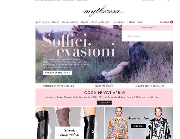 La homepage di Mytheresa.com