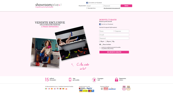 Screenshot del sito showroomprive.com