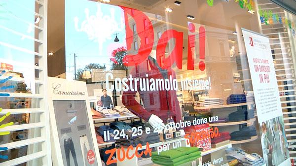 La vetrina di Camicissima di piazza Cavour