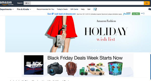 La home page di Amazon.com