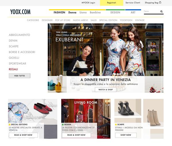 La home page di Yoox