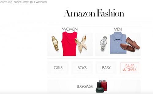 Una schermata di Amazon Fashion