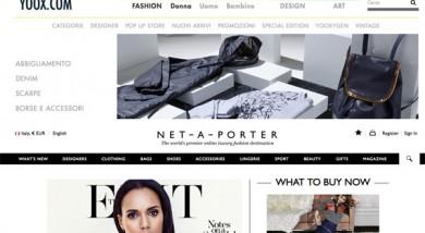 Le due home page di Yoox e Net-a-porter