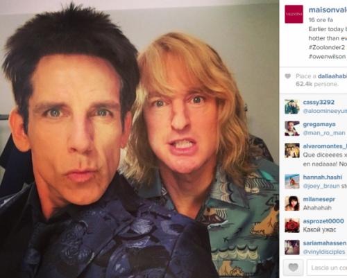 Foto dei due attori pubblicata sul profilo Instagram di Valentino.