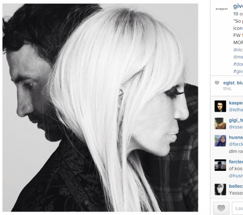 Screenshot dall'account Instagam Givenchy,