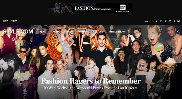 L'home page di Style.com