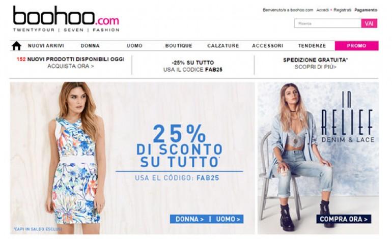 Boohoo.com aumenta i ricavi del 27%