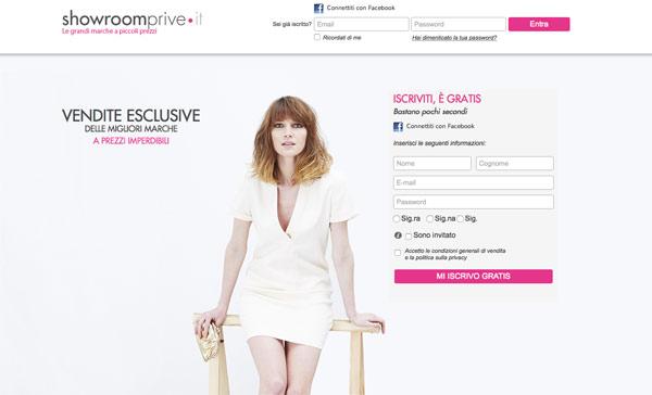 L'home page di Showroomprive