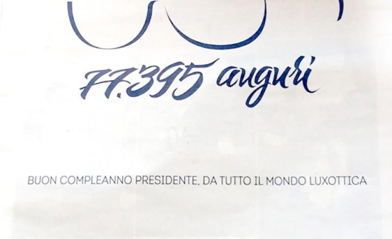 """I dipendenti sul Corriere: """"Tanti auguri Del Vecchio"""""""