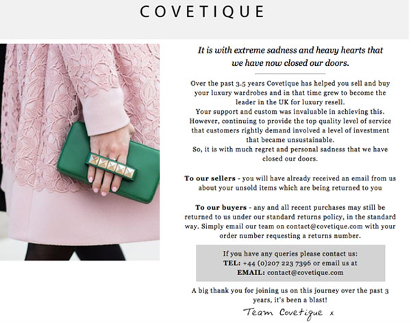 La home page di Covetique