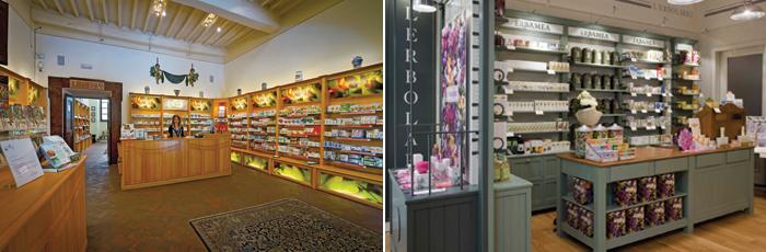 L'erboristeria di Aboca nella sede di Sansepolcro in provincia di Arezzo, lo store L'erbolario di Londra