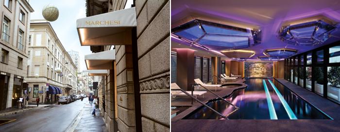 Le due pasticcerie Cova e Marchesi in via Montenapoleone e la spa Shiseido all'interno dell'Excelsior Gallia.