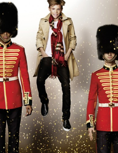 Romeo Beckham in the Burberry Festive Campaign shot by Mario Testino