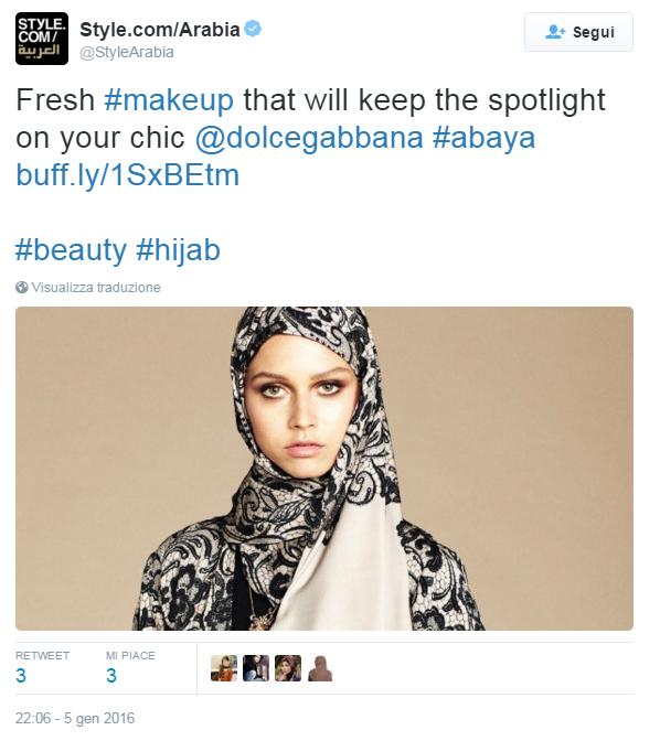 Tweet postato da Style.com/Arabia