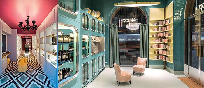 Interno della boutique Locherber e particolare di Aesop, interno della boutique Rancé