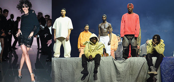 Un look Tom Ford e Alcuni look Yeezy Season 3