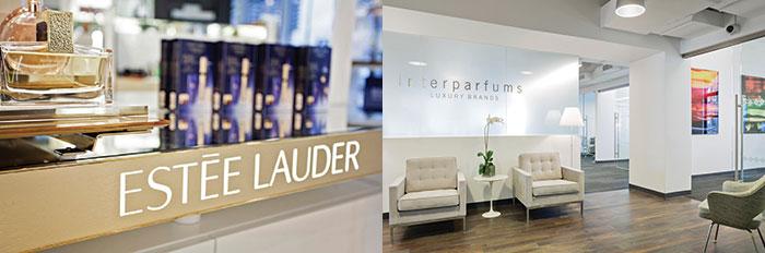 Un corner Estée Lauder e un interno del quartier generale di Interparfums