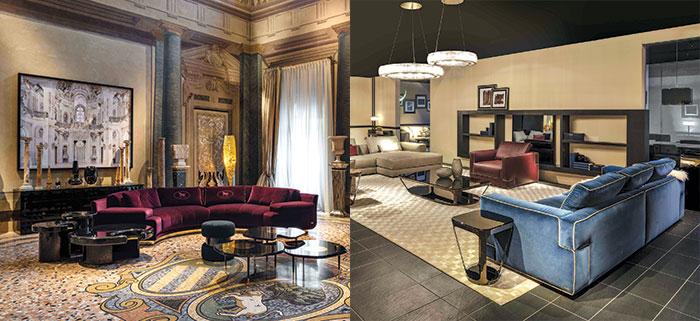 Fendi, Artù, divano round sect e poltrone eFendi, Sloane sectional sofa, poltrona, divano 4 posti. Design Toan Nguyen.