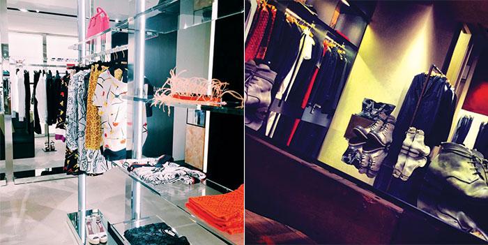 La butique Tiziana Fausti di Bergamo (Instagram @tizianafausti) e l'area maschile di Daad Dantone (Instagram @daaddantone)