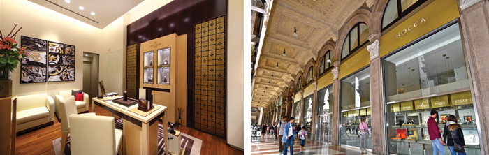 Un interno dell'orologeria Luigi Verga e le vetrine di Rocca 1794 a Milano