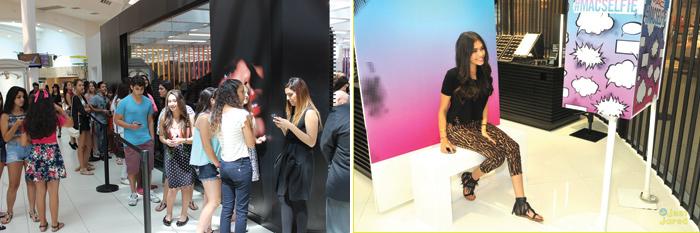Selfie all'interno del negozio Mac Cosmetics a Orlando in Florida e ragazzi in attesa di entrare nello store il giorno dell'inaugurazione