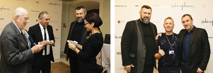 Mario Boselli e Carlo Capasa con Alexander Shumsky e Liudmila Taborskaya, direttore dell'IMG Fashion Russia. Ideatori del concorso Italy calls Russia Alexander Shumsky, Mauro Galligari, Filippo Ceroni