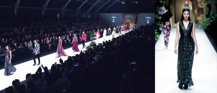 La sfilata del marchio Prolivon, di proprietà di Shangtex, durante la Shanghai Fashion Week