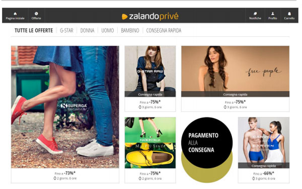Zalando porta in Italia le flash sales