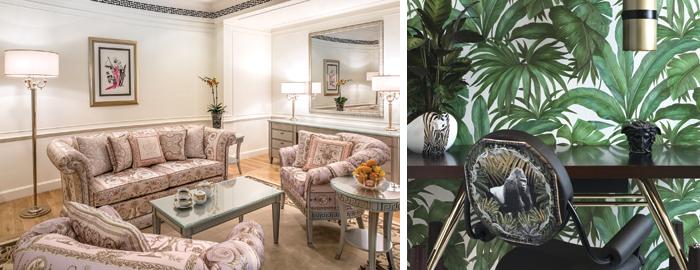Un'immagine degli interni dell' Hotel Palazzo Versace a Dubai e della scrivania Vasmara, creata per il Salone del Mobile 2016
