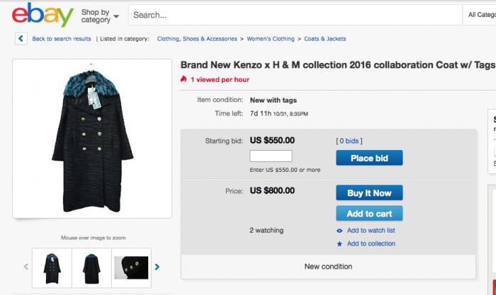 Un capo della collezione #KenzoXH&M in vendita su eBay