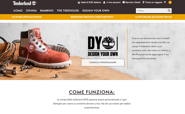 Anche in Europa le Timberland personalizzate