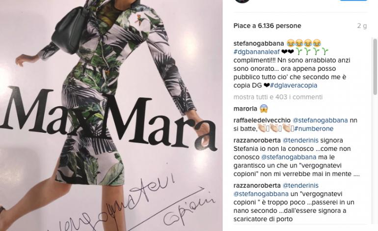 "f5a999f8b5d6d Gabbana accusa Max Mara su Instagram  ""Vergognatevi copioni ..."